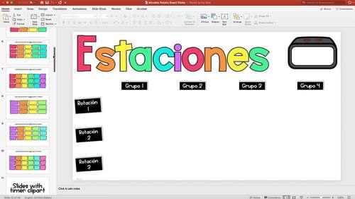 Spanish Rotation Slides - Slides para estaciones o centros