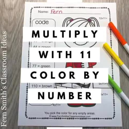 Color By Number Multiply With 11