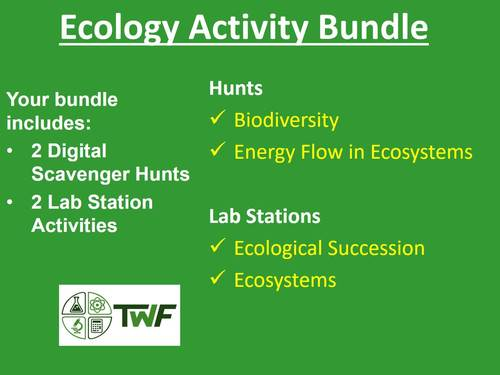 Ecology Activities - Lab Stations & Digital Scavenger Hunts