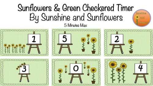 Sunflowers & Green Checkered Timer