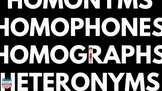 Homophones, Homonyms, Homographs, Heteronyms Reading Skill Video