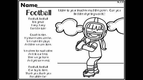 Football Themed NO PREP Kindergarten Lang. Arts Worksheets - Common Core Aligned