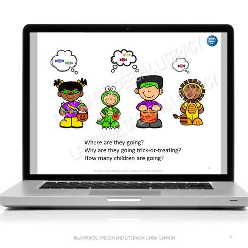 No Print Speech Therapy Language Activity  Scenes for Halloween | Teletherapy