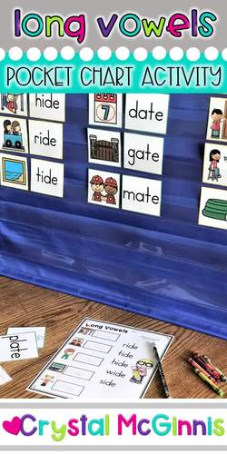 DOLLAR DEAL! Long Vowel (CVC-E) Words Pocket Chart Sorting Center & Printables
