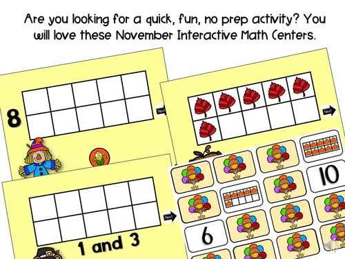 November Interactive Digital Math Ten Frame Power Points