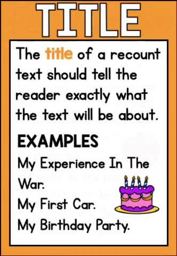 Recount Text Posters - Classroom Display