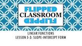 Algebra 1 Flipped Classroom - Lesson 5-3: Slope-Intercept Form