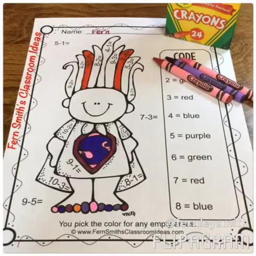 Trolls Color By Number Addition and Subtraction Bundle