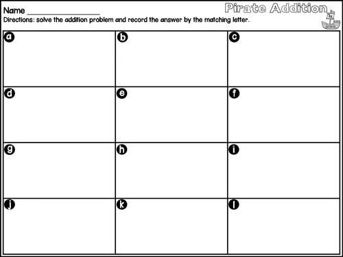 Addition and Subtraction- Pirate Theme