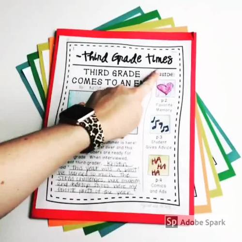 """End of Year Writing Activity - """"Third Grade Times"""""""