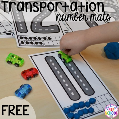 Transportation Road Number Mats For Preschool, Pre-K, And