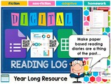 Year Long Digital Reading Log (Reading Diary / Journal) Di