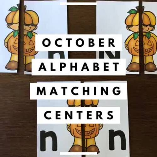 Alphabet Matching Literacy Center Easy Prep Uppercase & Lowercase October Bundle