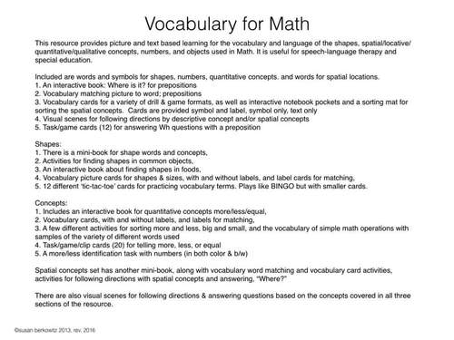 Vocabulary and Concepts for Size Shape Quantity and Location for Speech or SPED