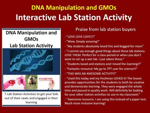 DNA Manipulation and GMOs - 7 Lab Station Activities