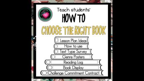 Reading - How to choose the right book Lesson plan, Survey, Posters, logs