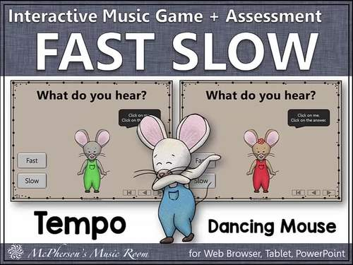 Tempo Music Opposites ~ Fast Slow Interactive Music Game {Dancing Mouse}