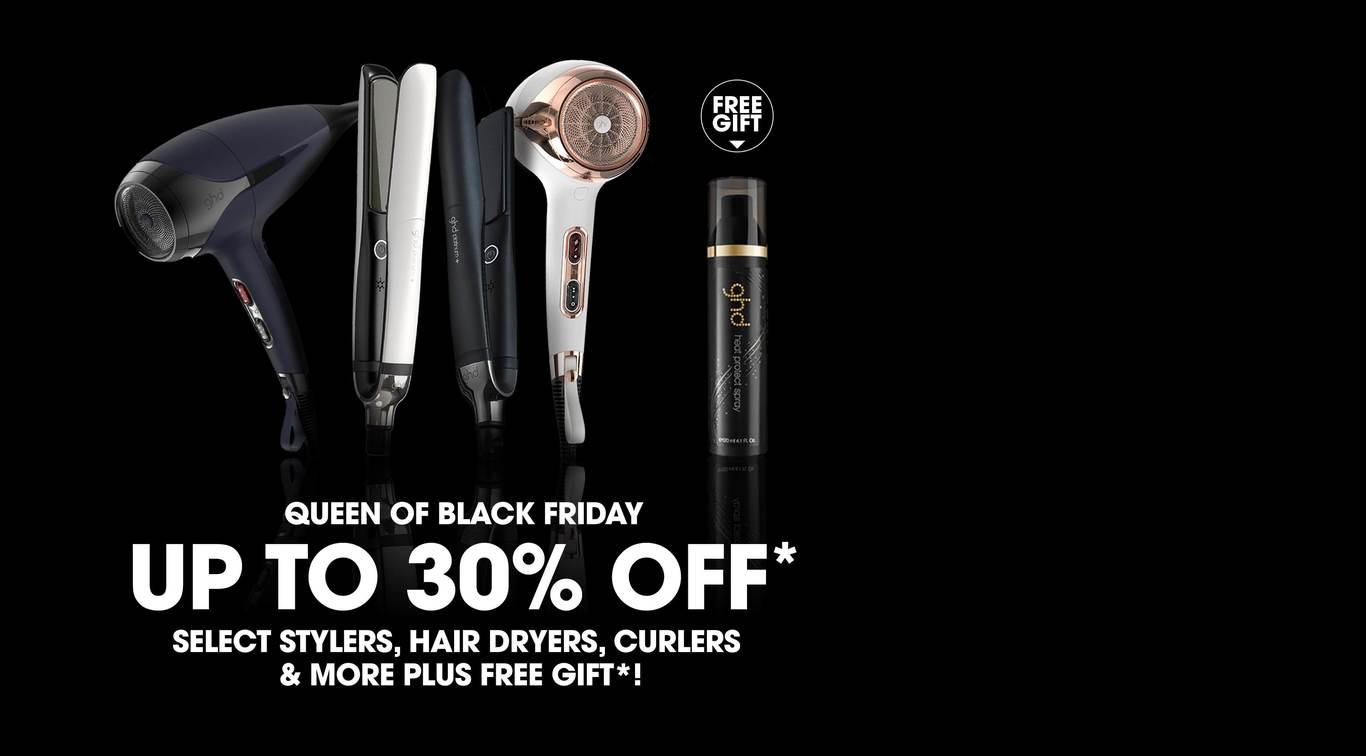 Be the queen of the sales this Black Friday! Get up to 30% off ghd stylers, hairdryers, curlers, brushes, and wetline. Receive a free ghd heat protect spray worth $22 with purchase of a ghd styling tool using code GHDXBF