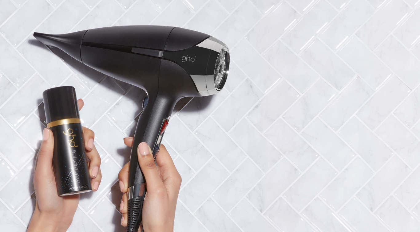 Be blown away by our range of high performing hair dryers including the award-winning ghd helios™ and receive a <b>FREE ghd final shine spray (worth £10.95)</b>, delivered with your purchase.*