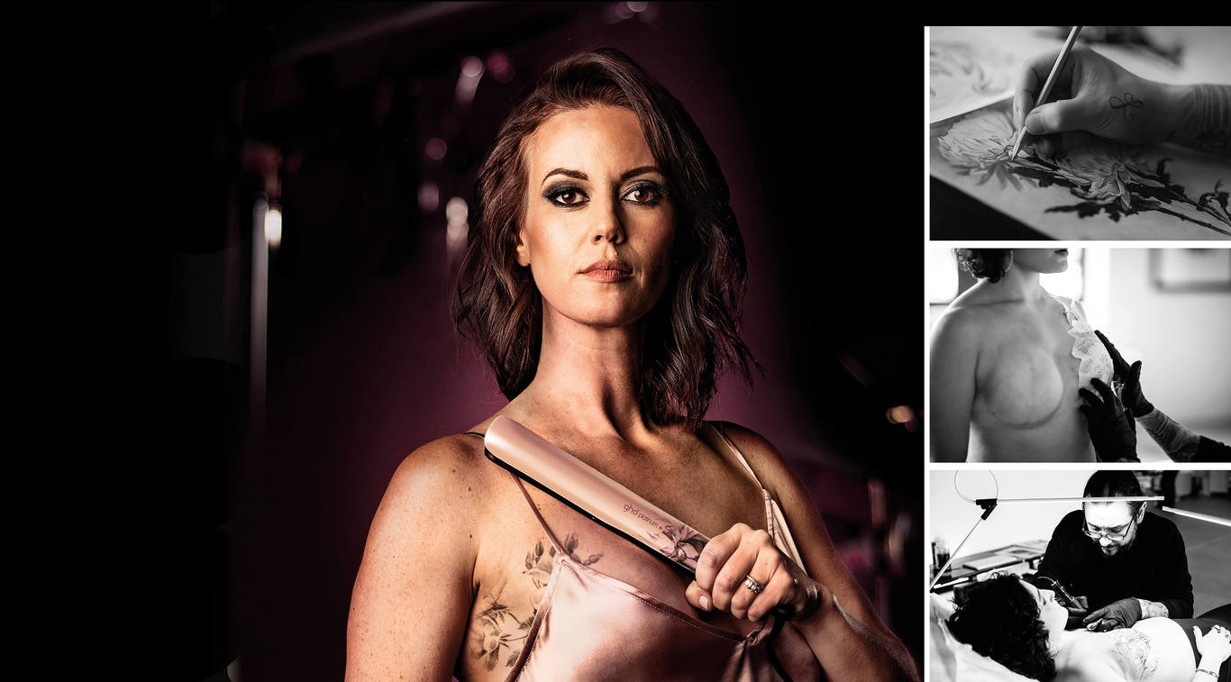 To celebrate 15 years of supporting breast cancer charities, ghd has collaborated with tattoo artist David Allen to create an original design based on his acclaimed work in concealing mastecomy scars. We introduce the beautiful limited edition, ghd ink on pink collection.