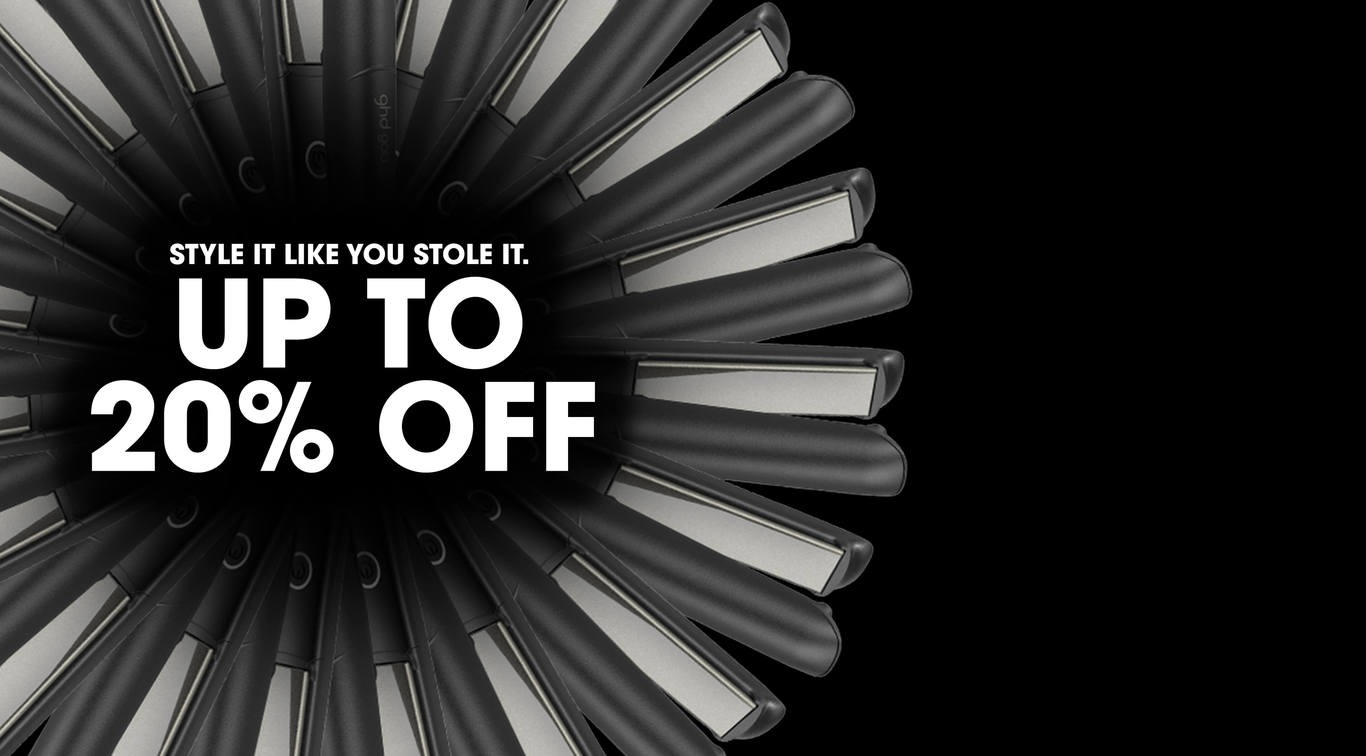 Receive <b>up to 20% off</b> selected ghd styling tools*, hair products and brushes in the ghd sale - available for a limited time only!